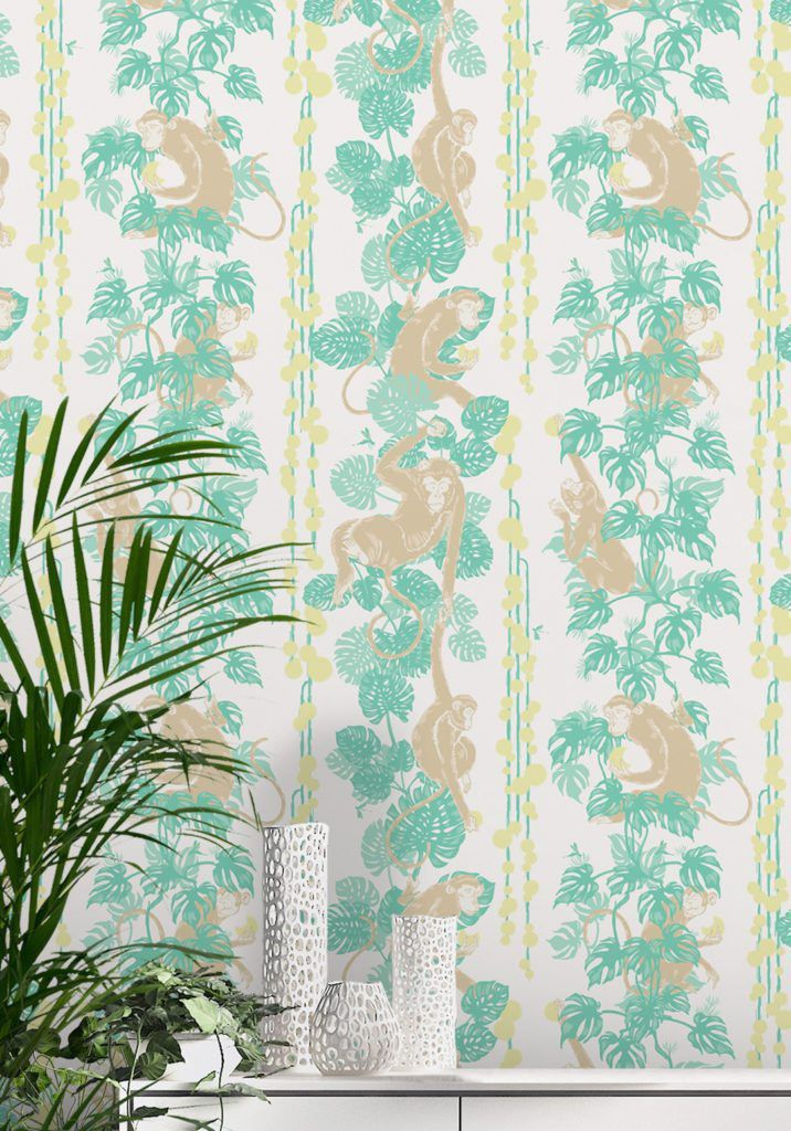 5 Monkeys by Kingdom Home Wallpaper manufactured and sold by Milton & King showing monkeys hanging from leafy vines