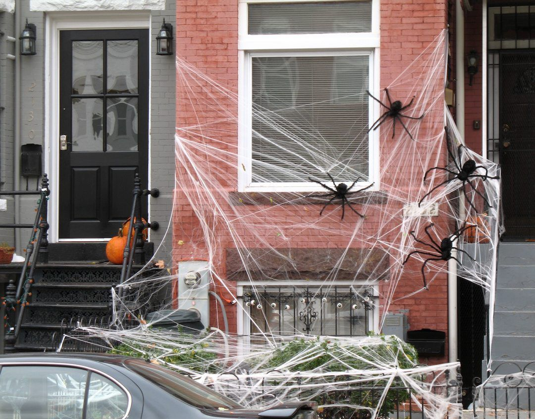Spider Halloween Web Decoration with webs spread across outside brick wall and across bushes
