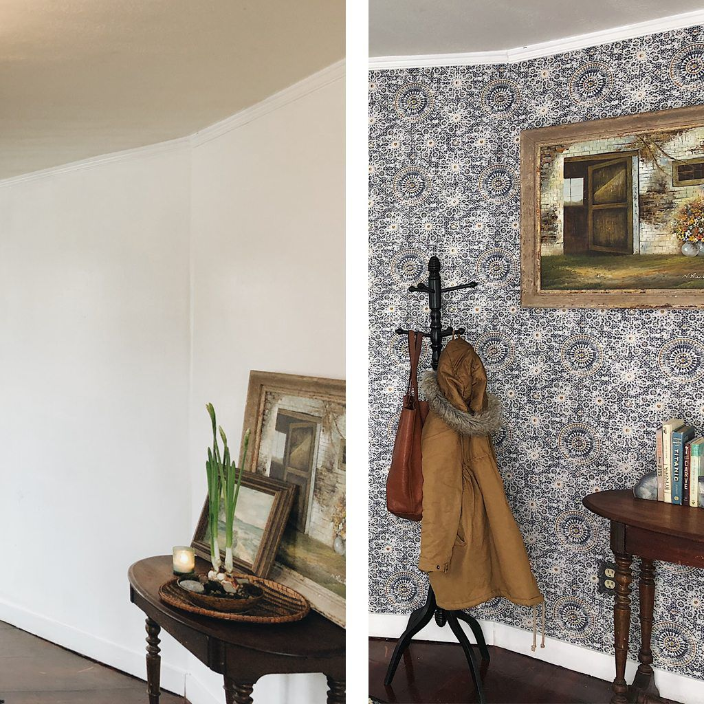 A before and after photo of a foyer showing a bare wall on the left and a wallpapered wall on the right with Abu Dhabi wallpaper in Babylon colourway by Milton & King