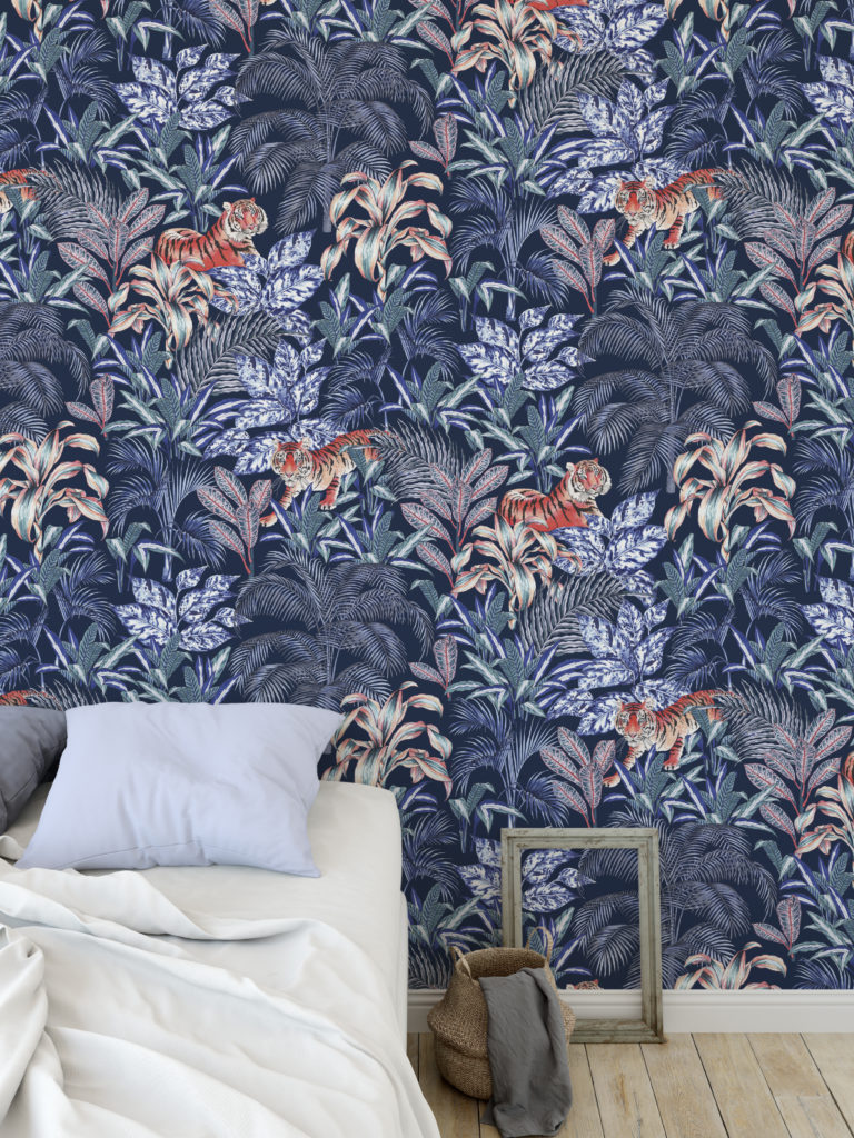 Jungle Tiger Wallpaper by Jacqueline Colley featuring Sumatran Tigers among a tropical jungle in midnight blue hues