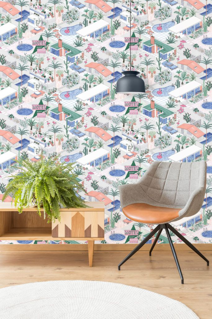 Palm Springs wallpaper by Jacqueline Colley featuring Mid-century architecture, swimming pools and pink flamingos