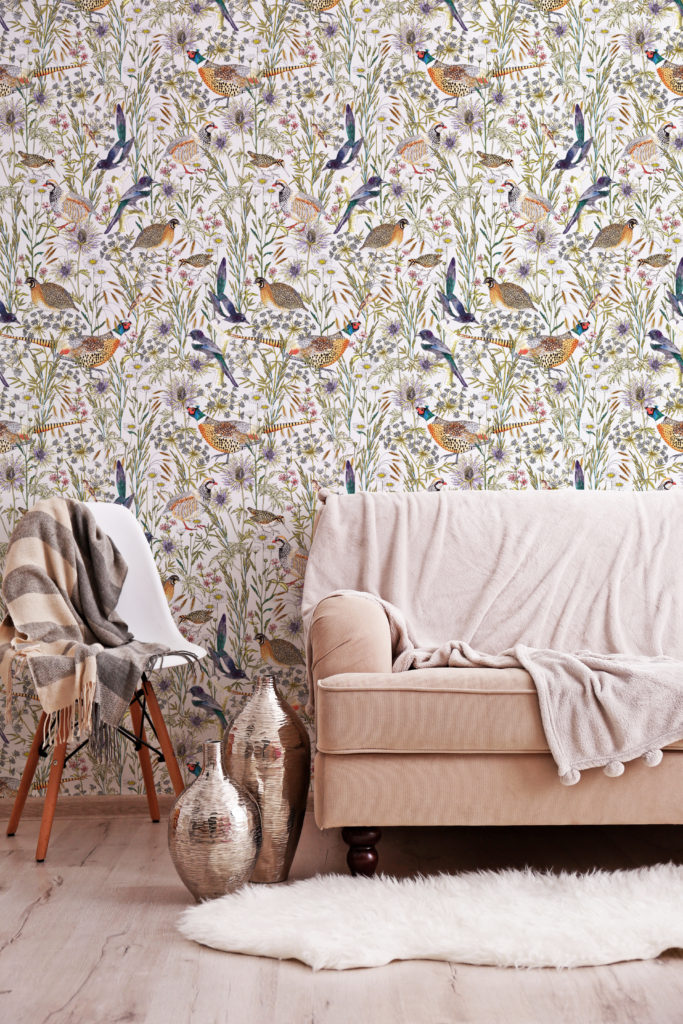 Woodland Birds wallpaper by Jacqueline Colley featuring British Birds