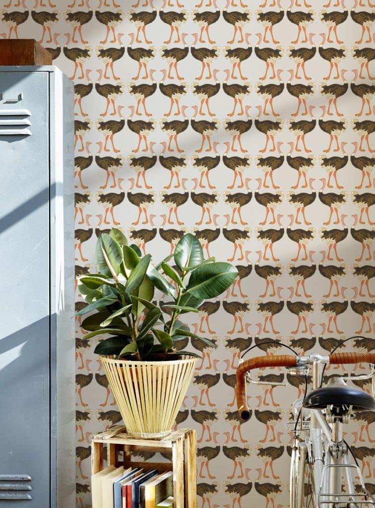Ostrich Strut Wallpaper designed by Teresa Chan by Milton & King