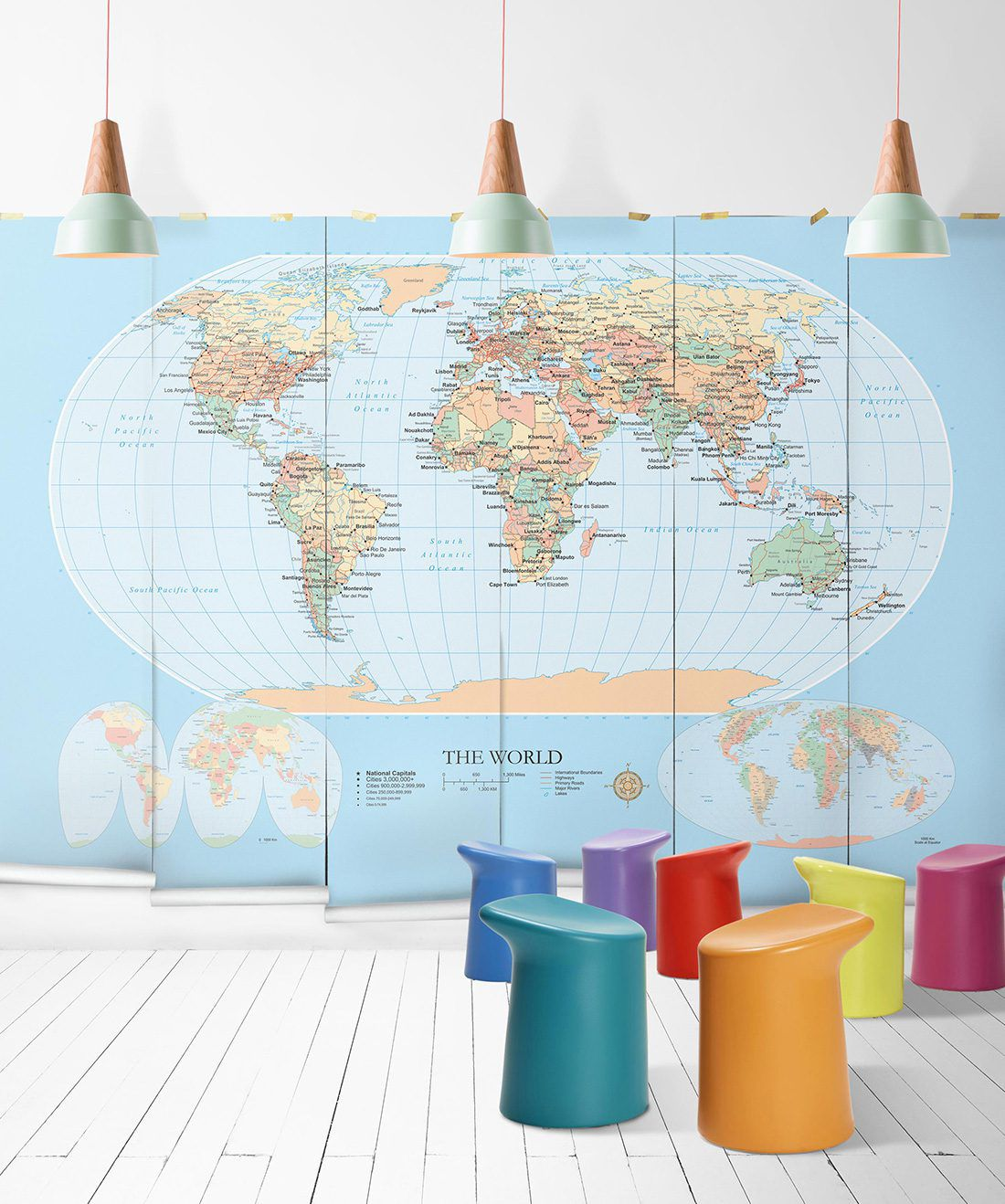 World Map Mural Modern