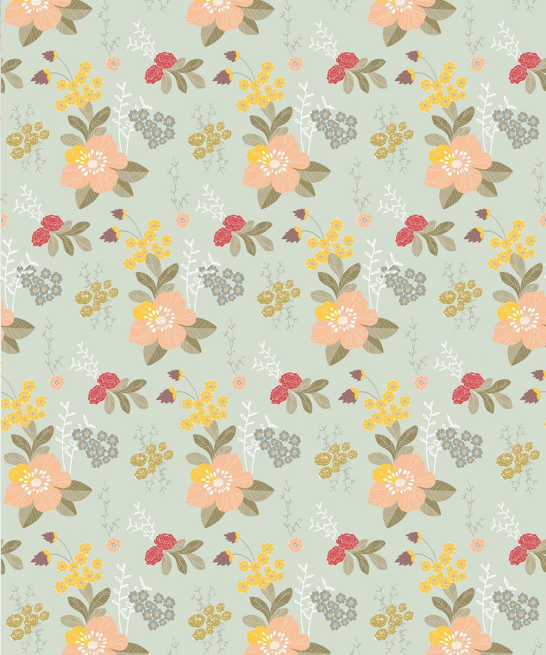 Flower Garden - Green Wallpaper