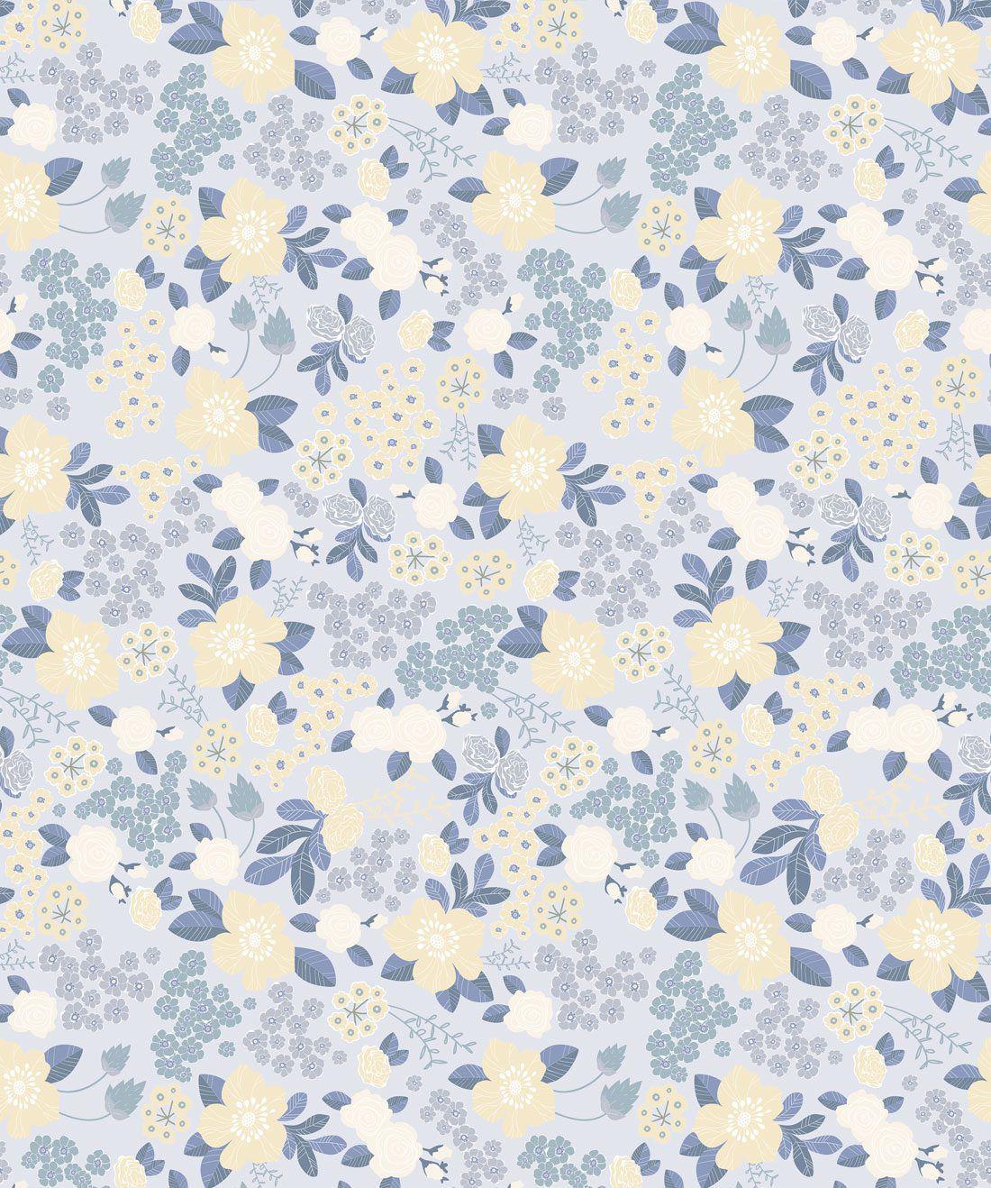 Flower Garden - Blue Wallpaper