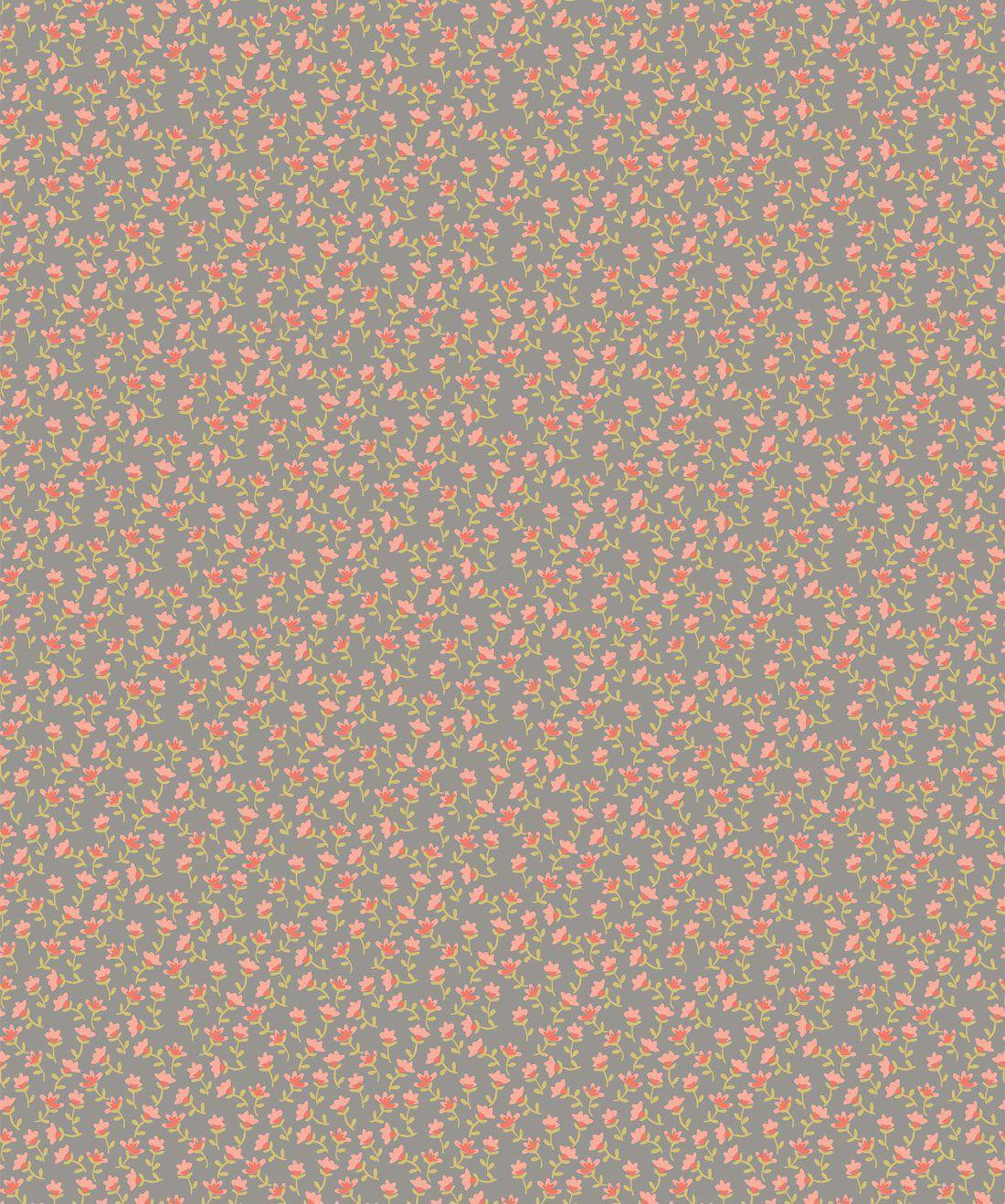 Tiny Flowers Grey Wallpaper