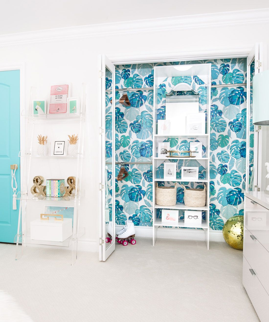 Tropicale Wallpaper • Tropical Style • Tween Bedroom • Turquoise Wallpaper • Kelly Lee • One Room Challenge