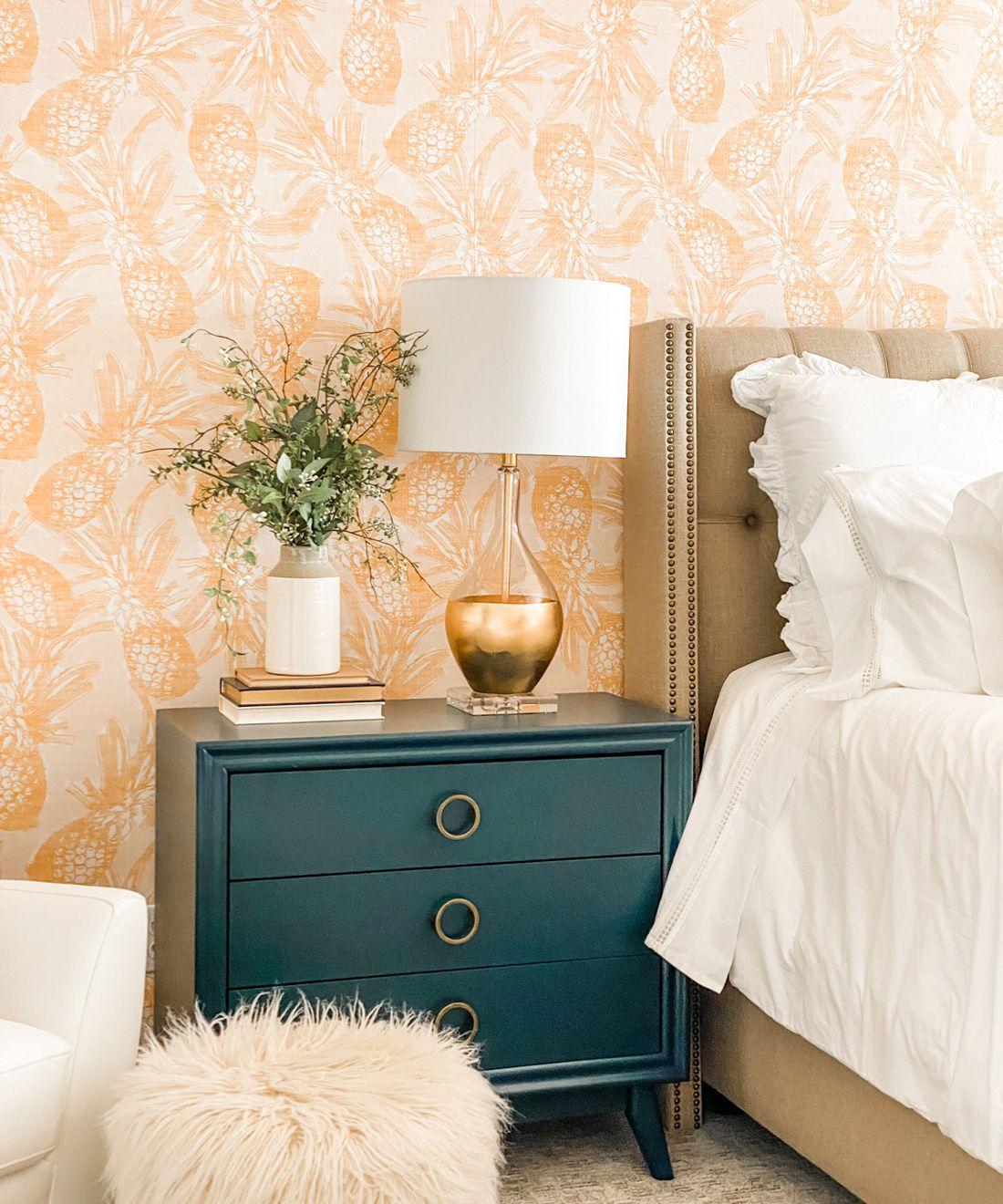 Calypso Wallpaper •Gold wallpaper •Yellow Wallpaper •Pineapple Wallpaper behind a teal bedside dresser