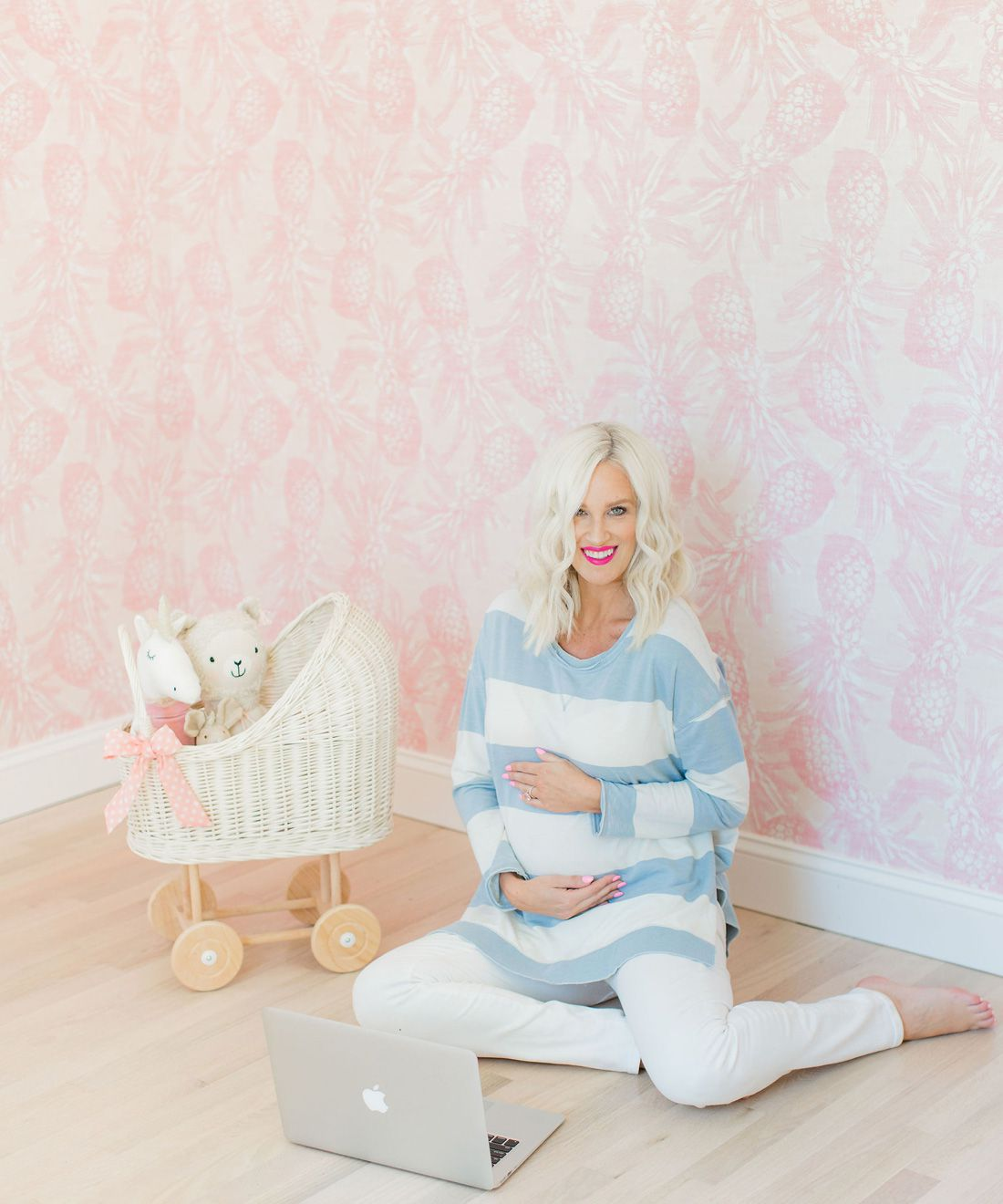 Calypso Wallpaper • Pink Wallpaper • Nursery Wallpaper • Pineapple Wallpaper