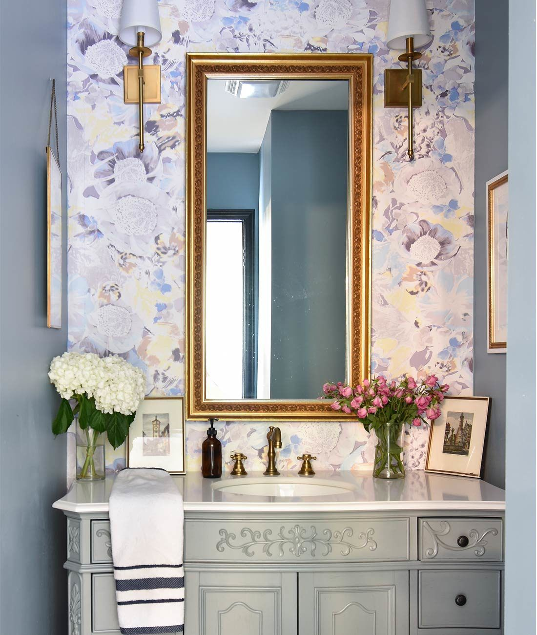 Felicity Wallpaper • Blue and Yellow Floral Wallpaper • Milton & King USA • Free Shipping