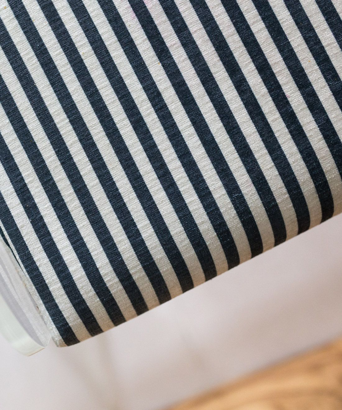 Candy Stripe Fabric • Black and White Striped Fabric •Bethany Linz • upholstered kitchen stools by Jewel Marlowe