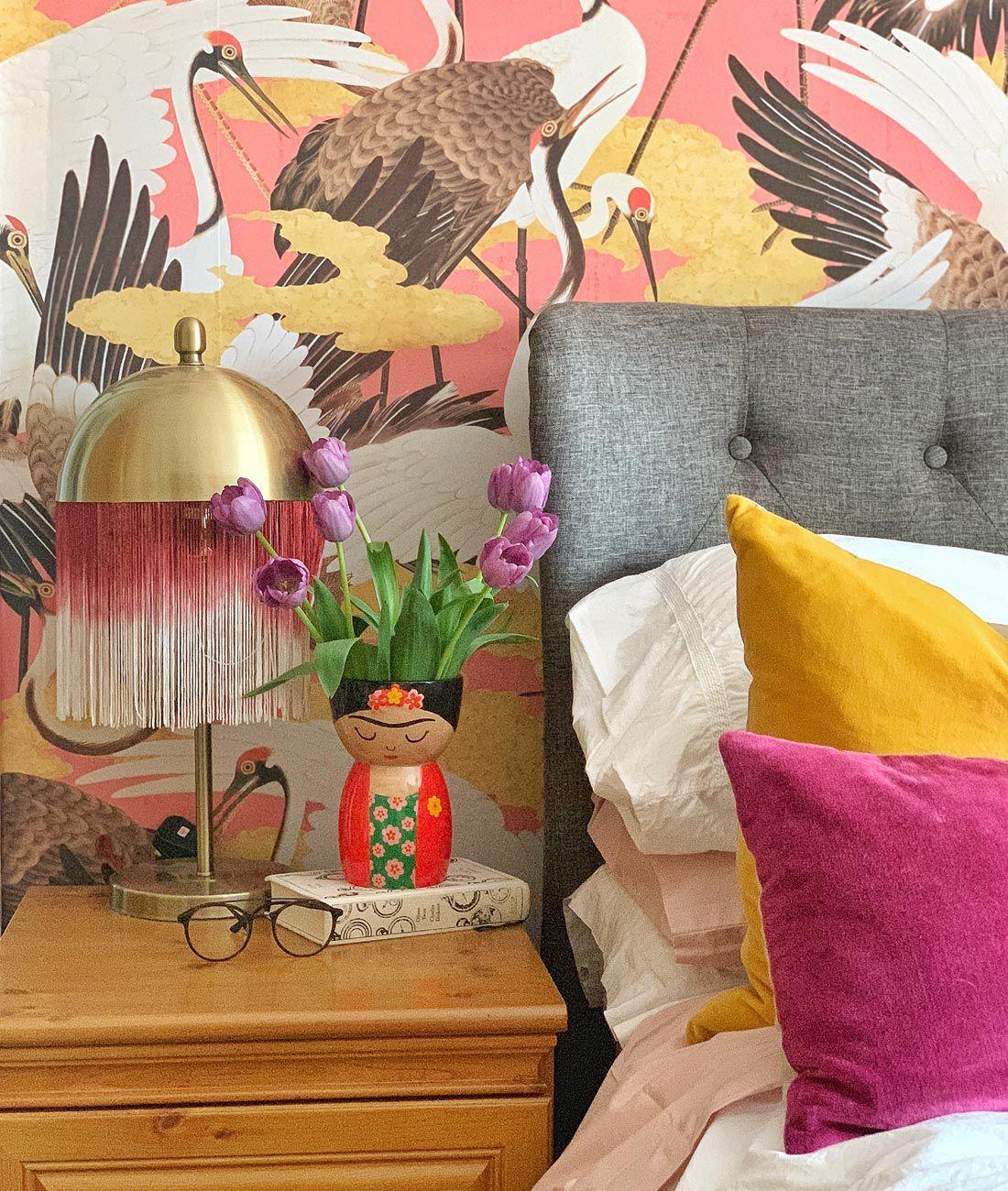 Cranes wallpaper • Pink Wallpaper