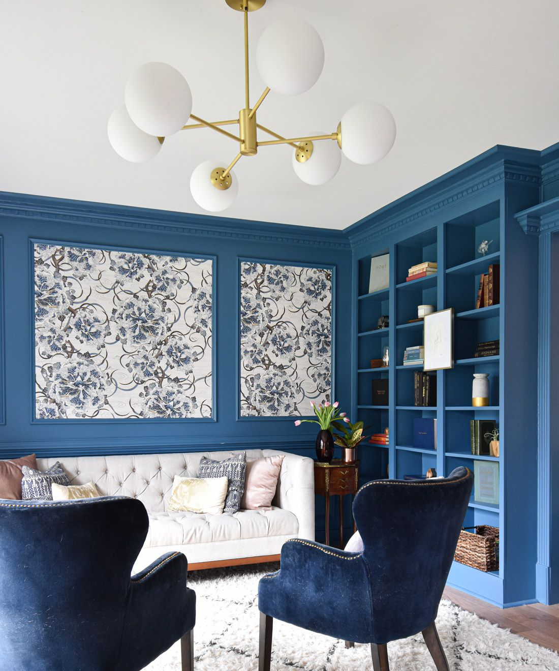 Great Wave Bloom • Blue Ocean wallpaper • Living Room Wallpaper • Inna Kovalinskiy