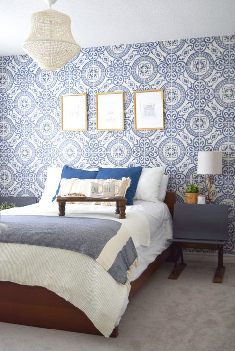 Heritage Tiles Blue Wallpaper, Mediterranean style wallpaper behind a bed with white linen