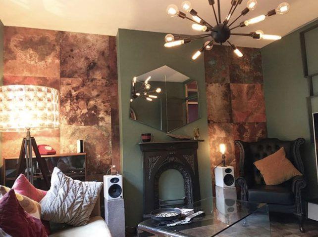 Bronze & Copper Wallpaper • Living Room Wallpaper