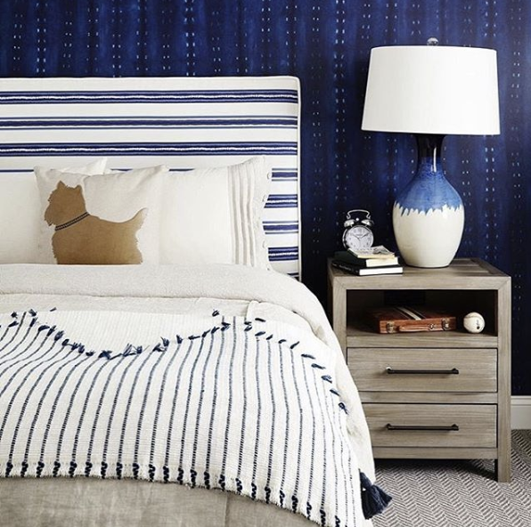 Shibori CityScape Dark blue wallpaper behind a bed