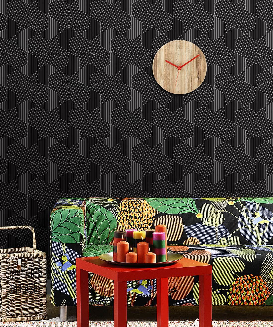 Matte Black Geometric Illusions Wallpaper • Geometric Wallpaper • Milton & King