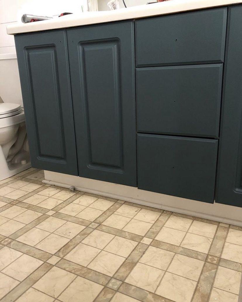 Sierra Joseph Bathroom Refresh Painted Vanity Old Floors