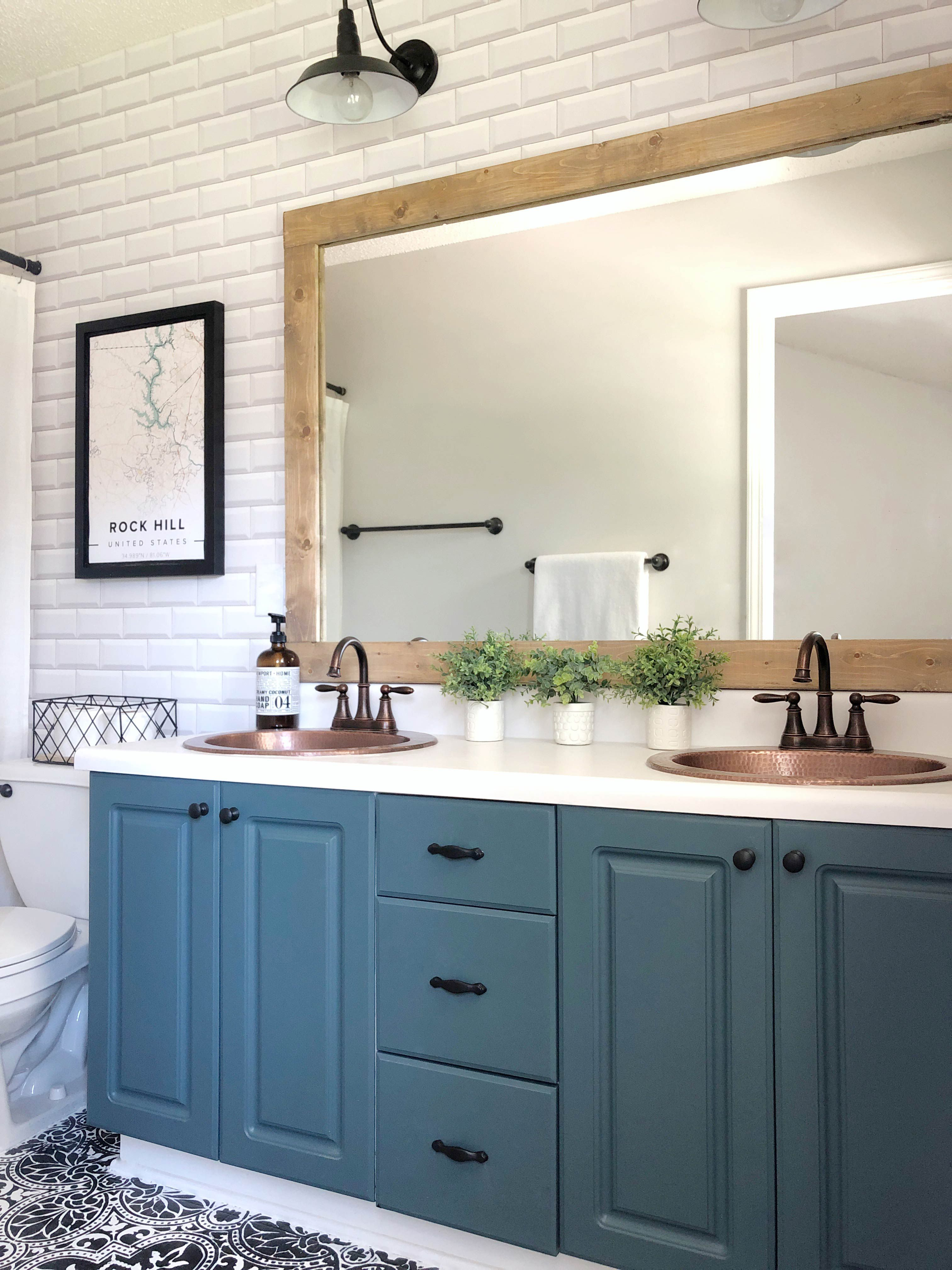 White Subway Tiles Wallpaper Bathroom Refresh by Sierra Joseph After Photo