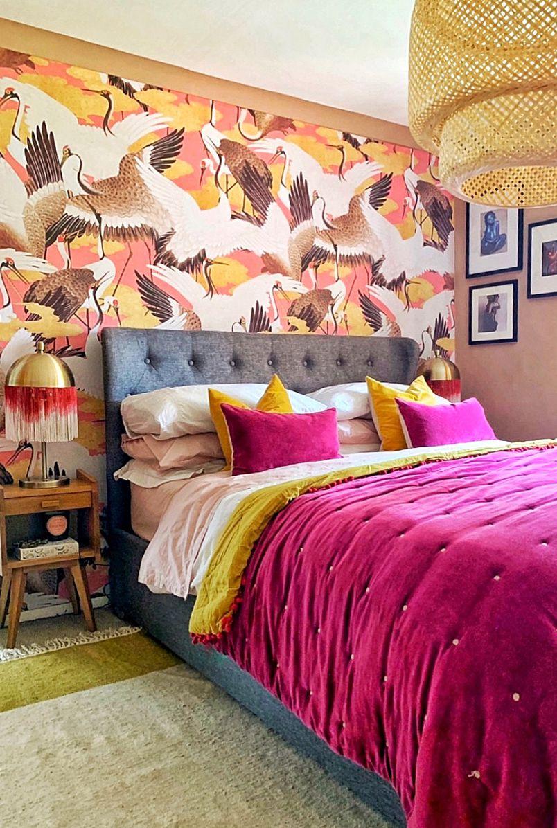 Bedroom Wallpaper • Cranes Wallpaper • Bird Wallpaper • Milton & King USA