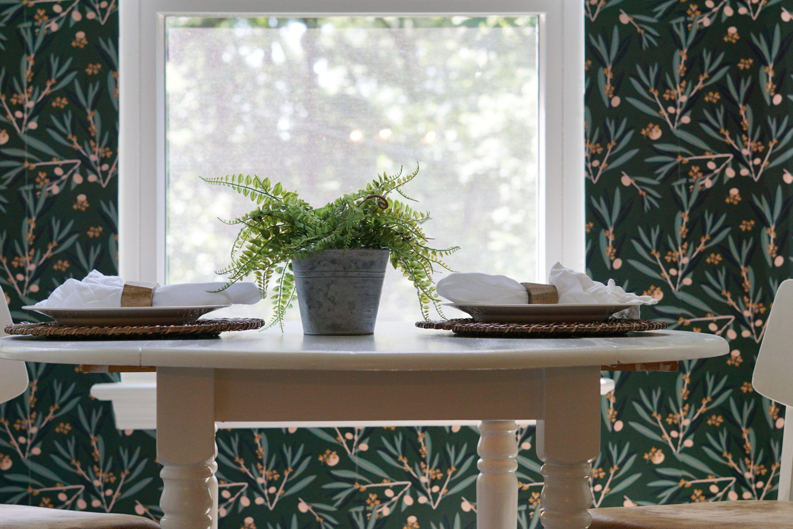 Olive Dapple • Dining Room Wallpaper •Dark Green Wallpaper