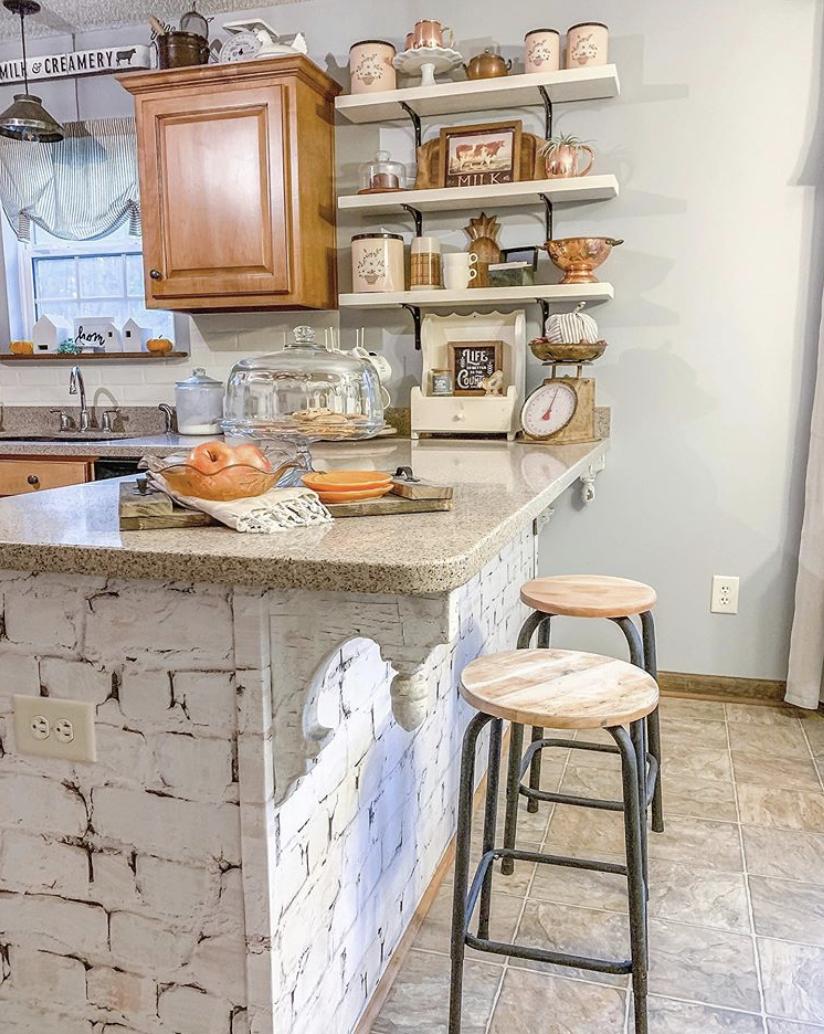 Whitewash Bricks • Kitchen Wallpaper • At Home In the Wildwood