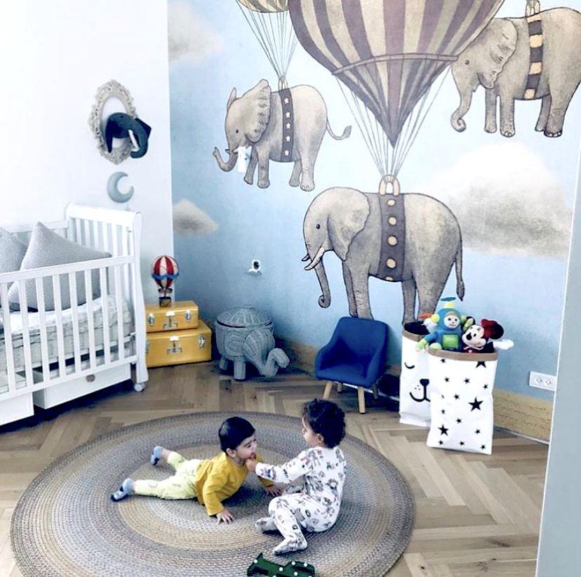 Flight Of the Elephants • Wall Mural • Kids Bedroom • Elephant Wallpaper • Fun Wallpaper • Milton & King USA