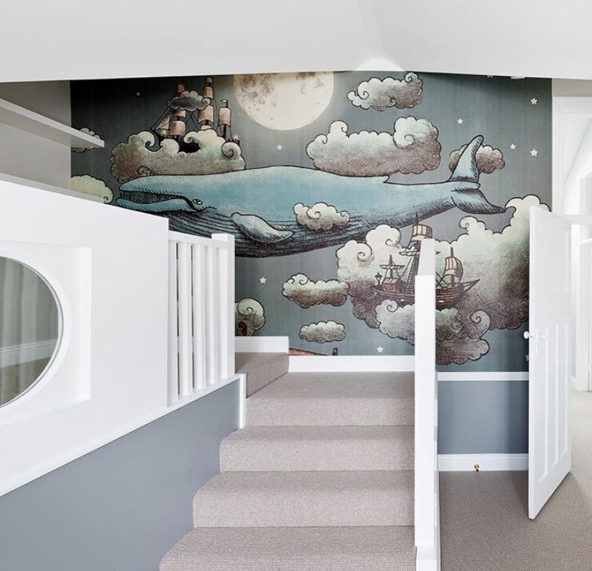 Ocean Meets Sky • Terry Fan • Kids Wallpaper • Childrens Mural • Nautical Decor • Wallpaper with humpback whale and pirate ships • Milton & King USA