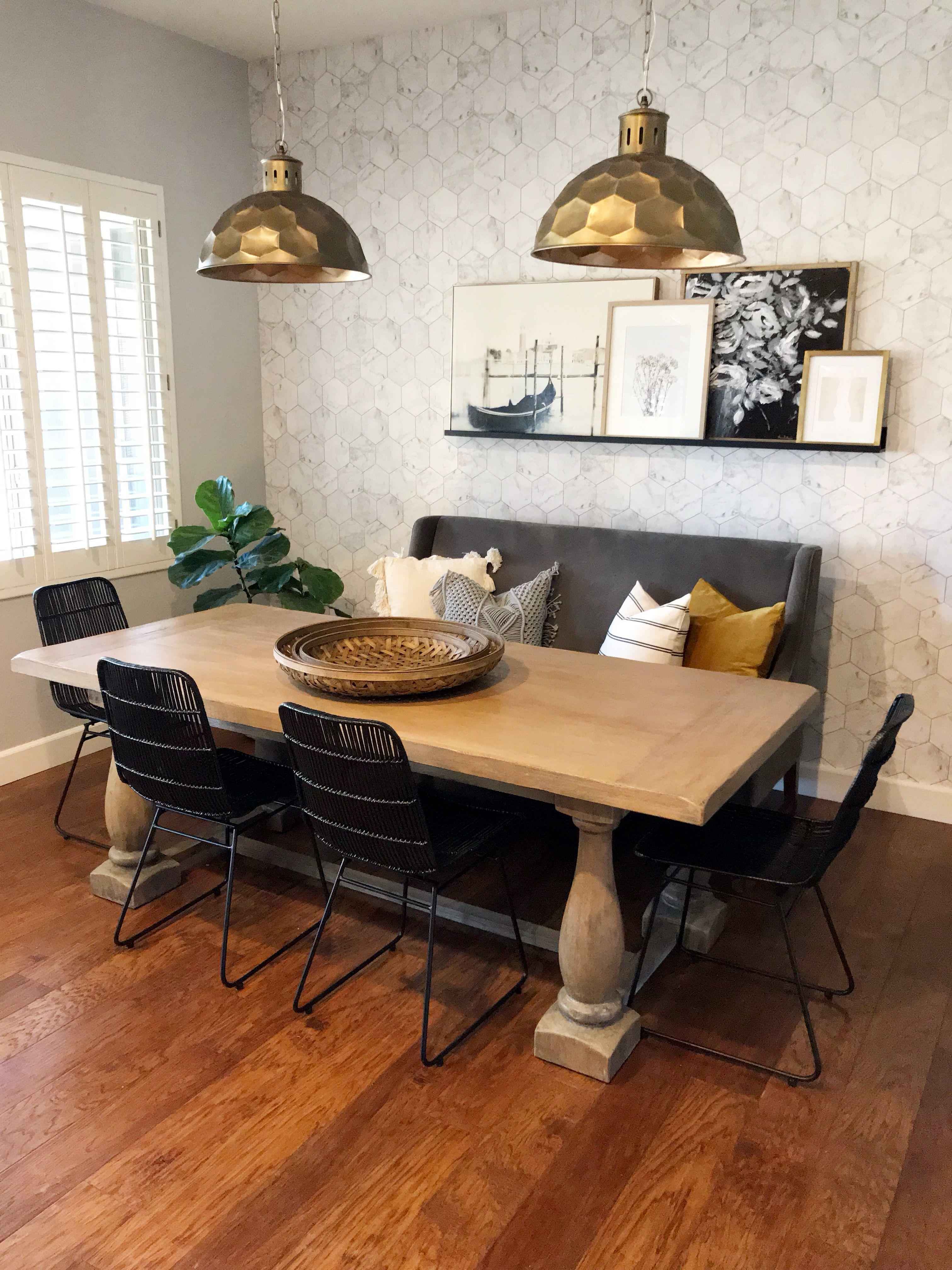 Marble & Copper Tiles wallpaper • Dining Room Wallpaper • Milton & King USA