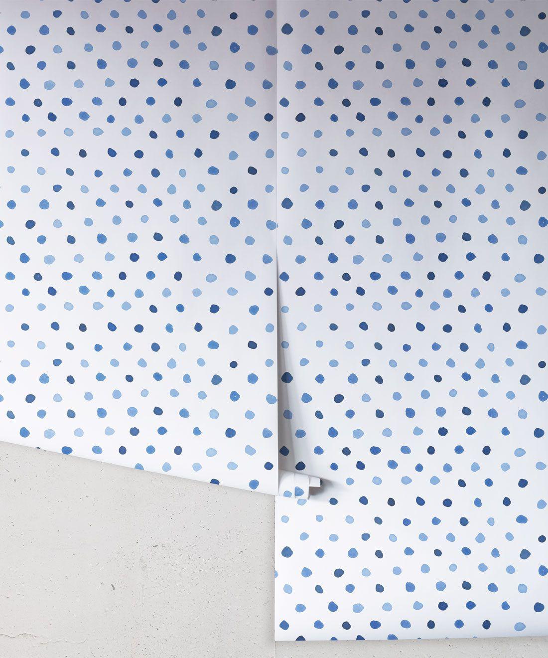 Dibba Dots • Georgia MacMillan • Blue Spotty Wallpaper • Milton & King USA