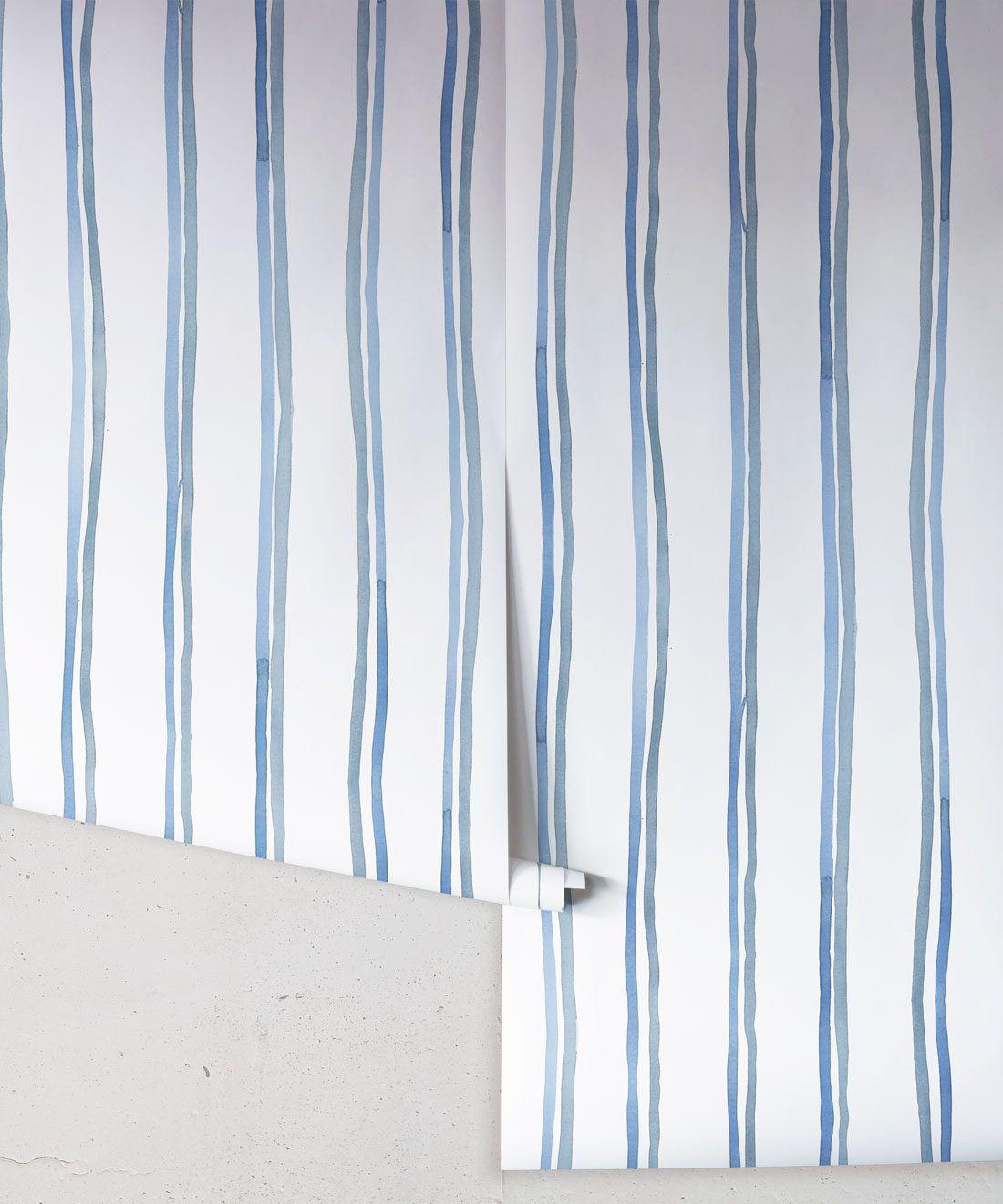 Double Inky Stripe • Striped Wallpaper • Blue Striped Wallpaper Rolls • Georgia MacMillan • Milton & King USA