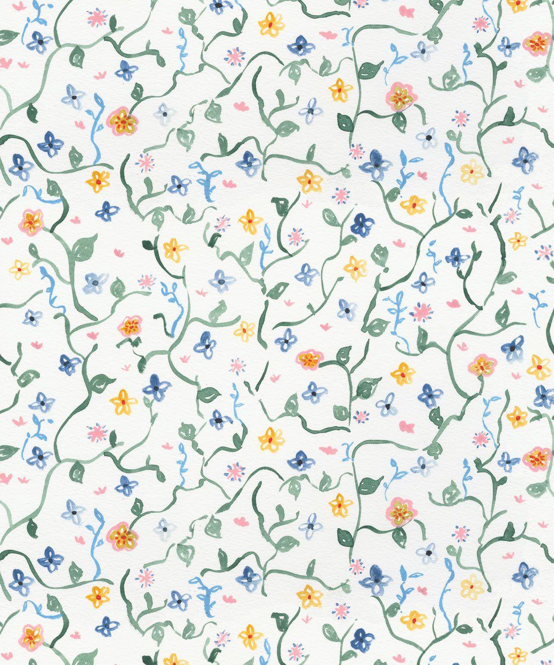 Wild Garden • Dainty Floral Wallpaper • Milton & King USA •Georgia MacMillan