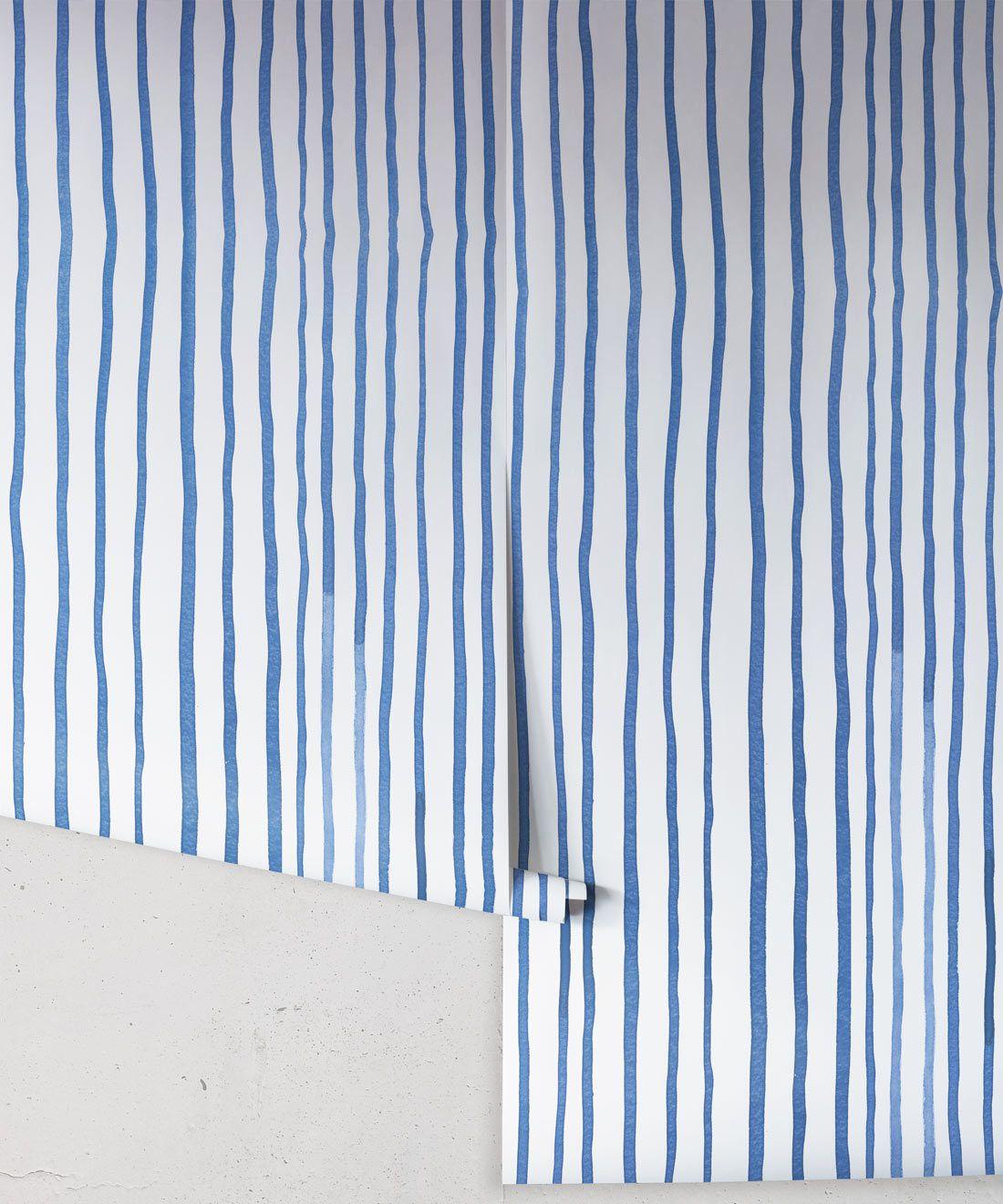 Zighy Stripes •Striped Wallpaper •Blue Stripes • Milton & King USA • Georgia MacMillan •Wallpaper Rolls