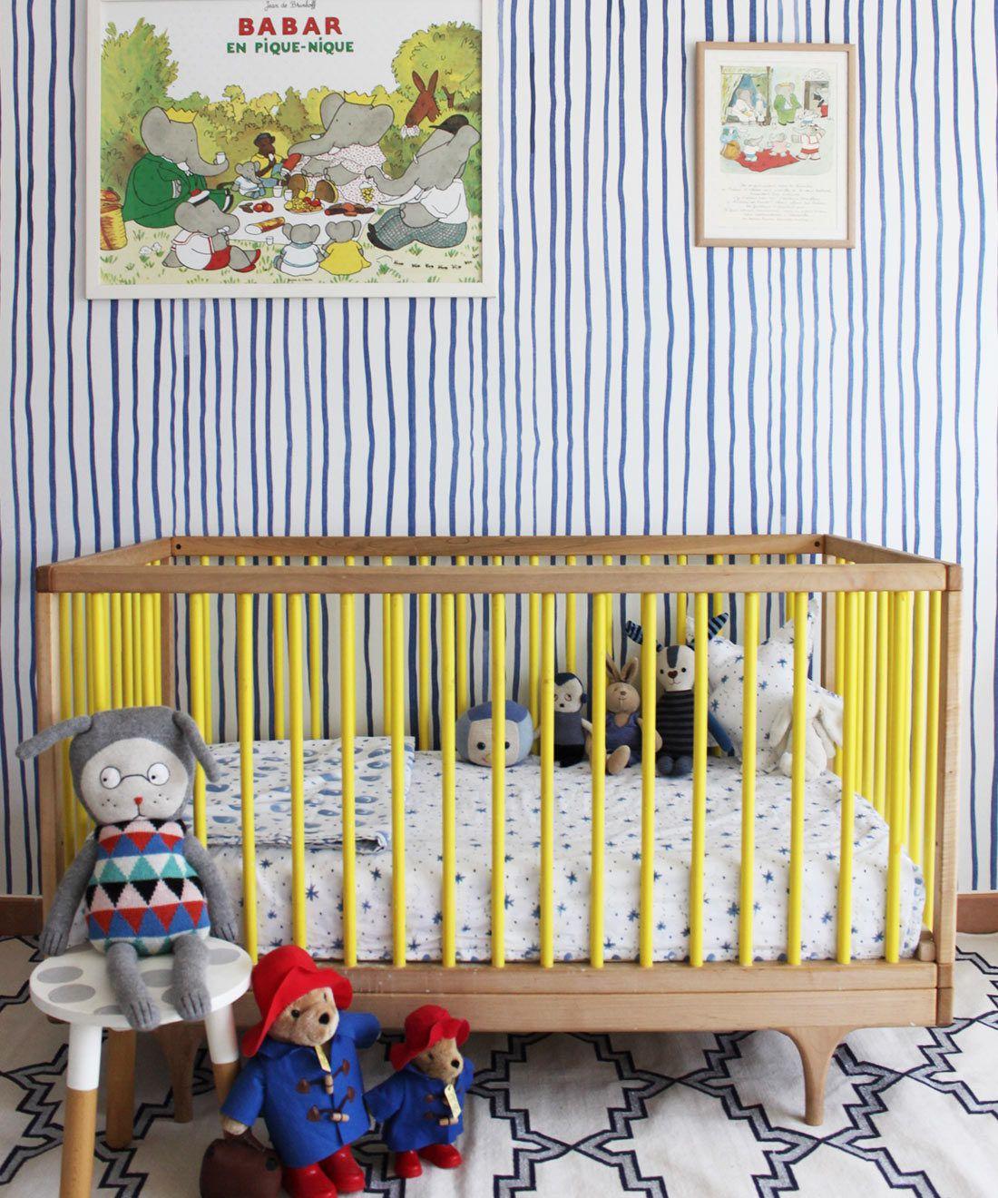 Zighy Stripes •Striped Wallpaper •Blue Stripes • Milton & King USA • Georgia MacMillan • Nursery Decor • Crib