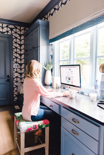 Home Office Wallpaper Blog • Shibori Star • Blue Wallpaper