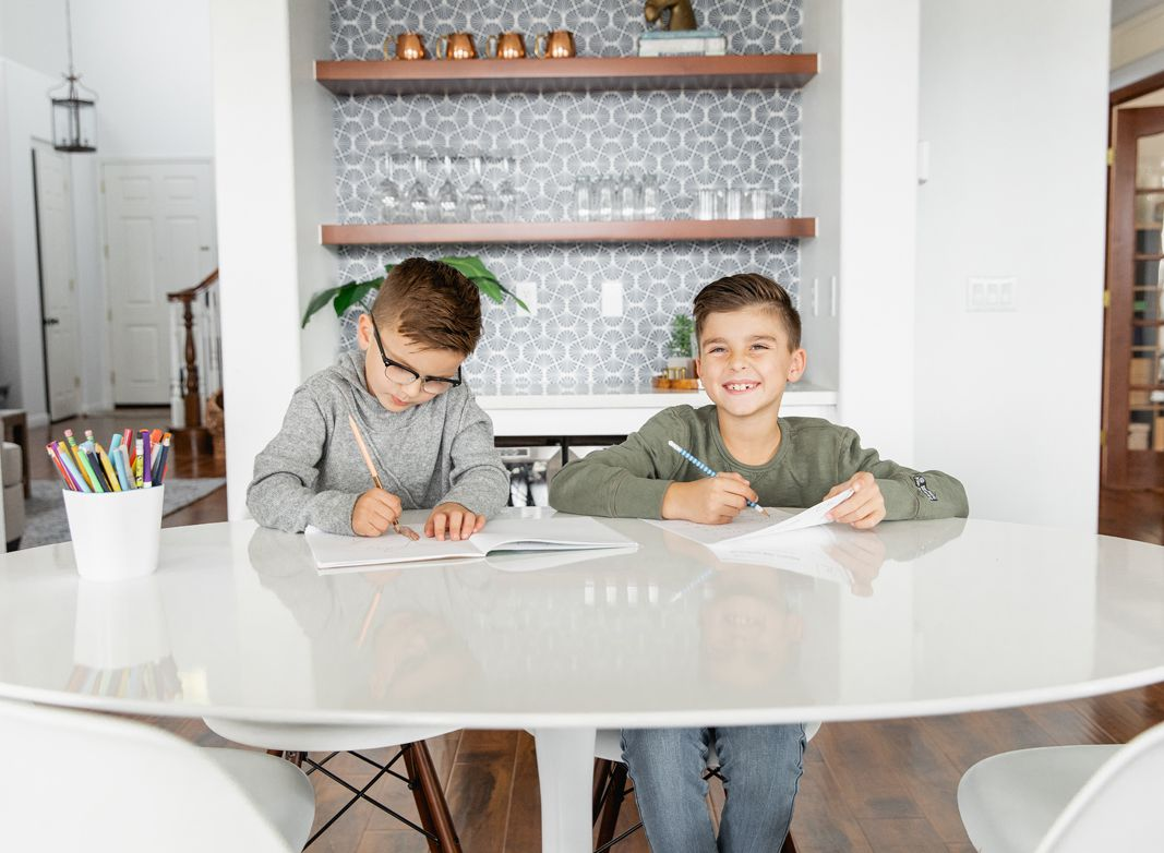 Kitchen Wallpaper • Empire Weave • Kids Doing Homework at kitchen table