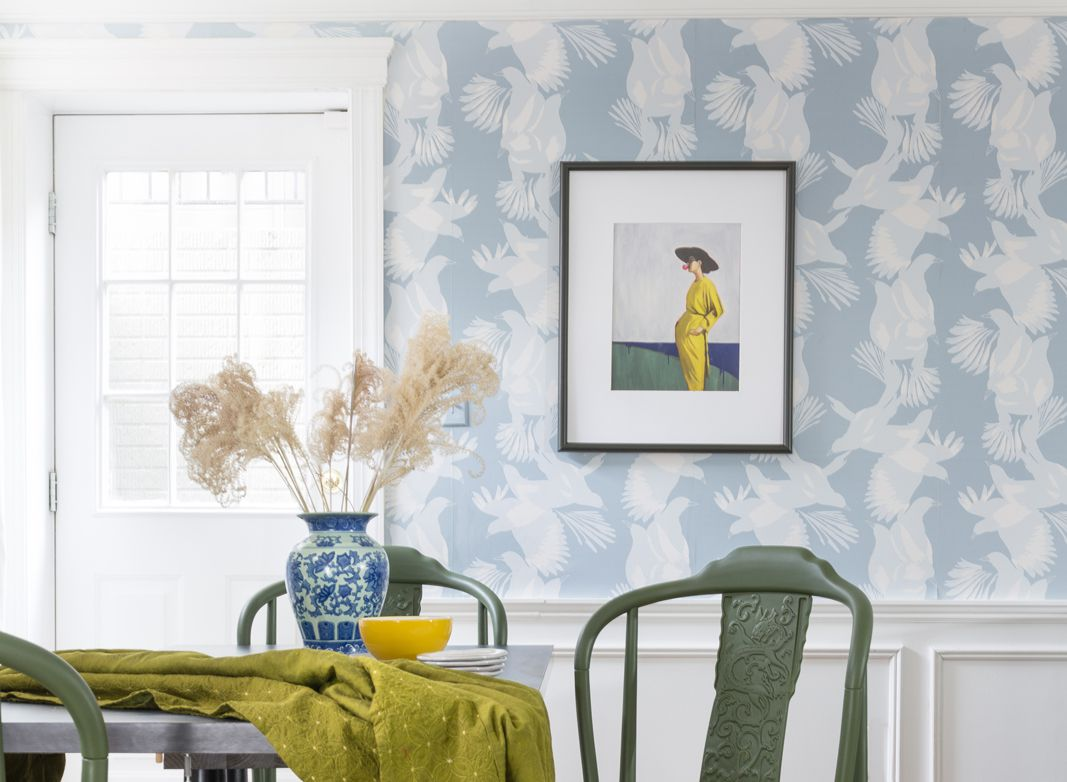 Magpie Wallpaper Blog • Australia Collection by Kingdom Home • Blue Wallpaper • Bird Wallpaper • Photo by Jewel Marlowe