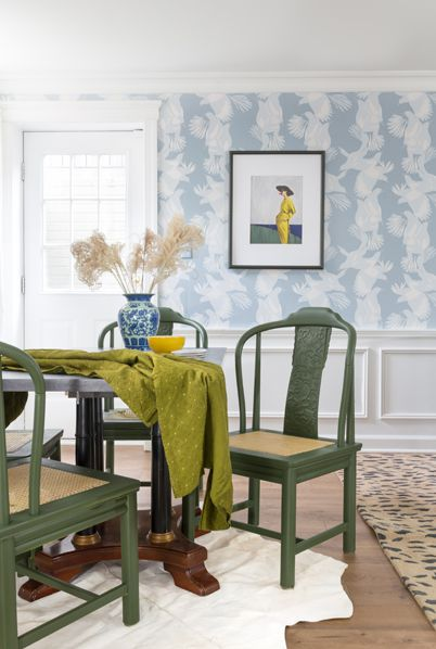 Magpie Wallpaper • Australia Collection by Kingdom Home • Blue Wallpaper • Bird Wallpaper • Photo by Jewel Marlowe