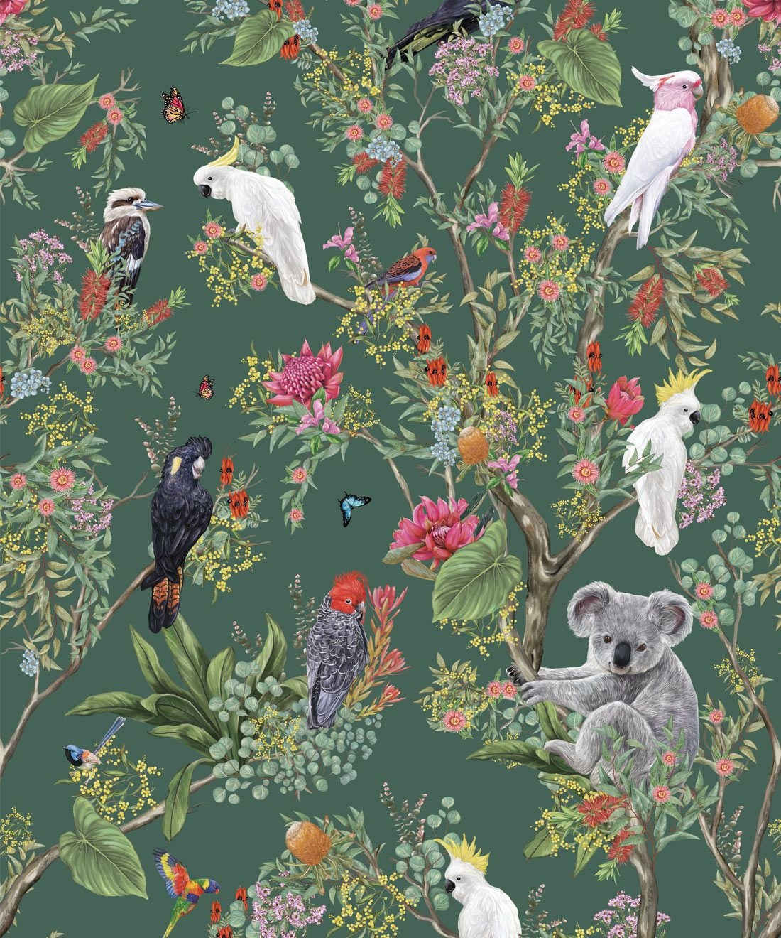 Australia Wallpaper • Cockatoos, Koalas, Parrots, Finches • Milton & King USA • Green Wallpaper Swatch
