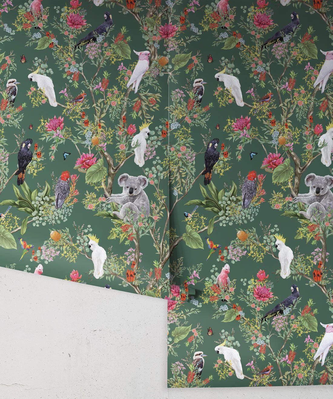 Australia Wallpaper • Cockatoos, Koalas, Parrots, Finches • Milton & King USA • Green Wallpaper Roll