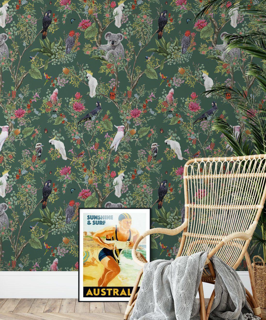Australia Wallpaper • Cockatoos, Koalas, Parrots, Finches • Milton & King USA • Green Wallpaper Insitu