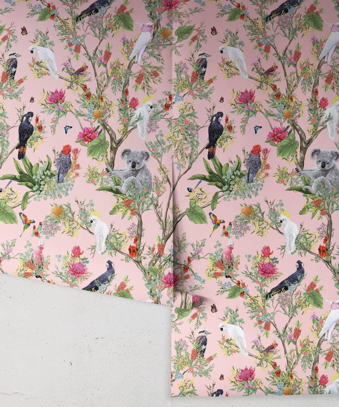 Australia Wallpaper • Cockatoos, Koalas, Parrots, Finches • Milton & King USA • Coral Wallpaper Roll