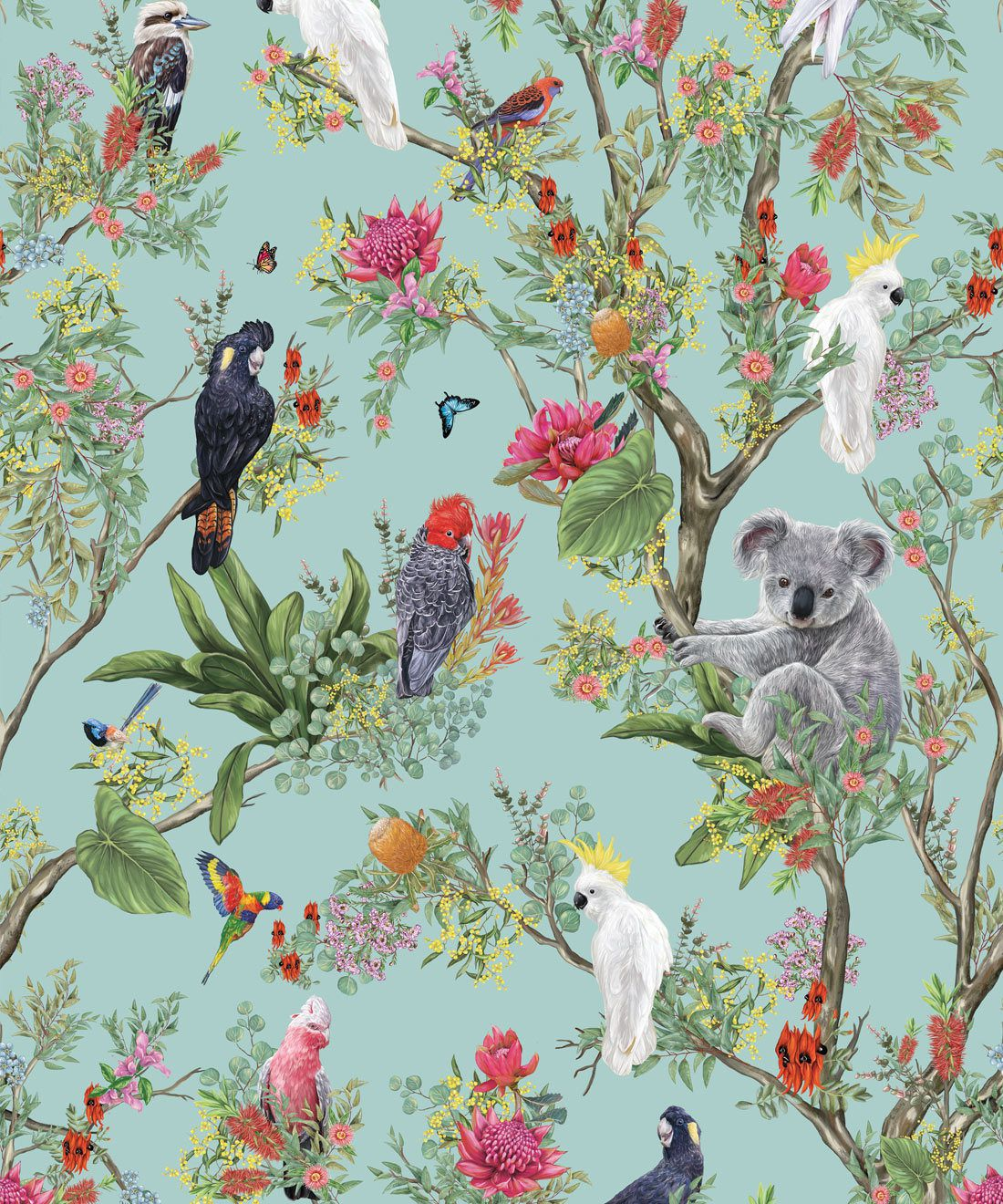 Australia Wallpaper • Cockatoos, Koalas, Parrots, Finches • Milton & King USA • Mint Green Wallpaper Swatch