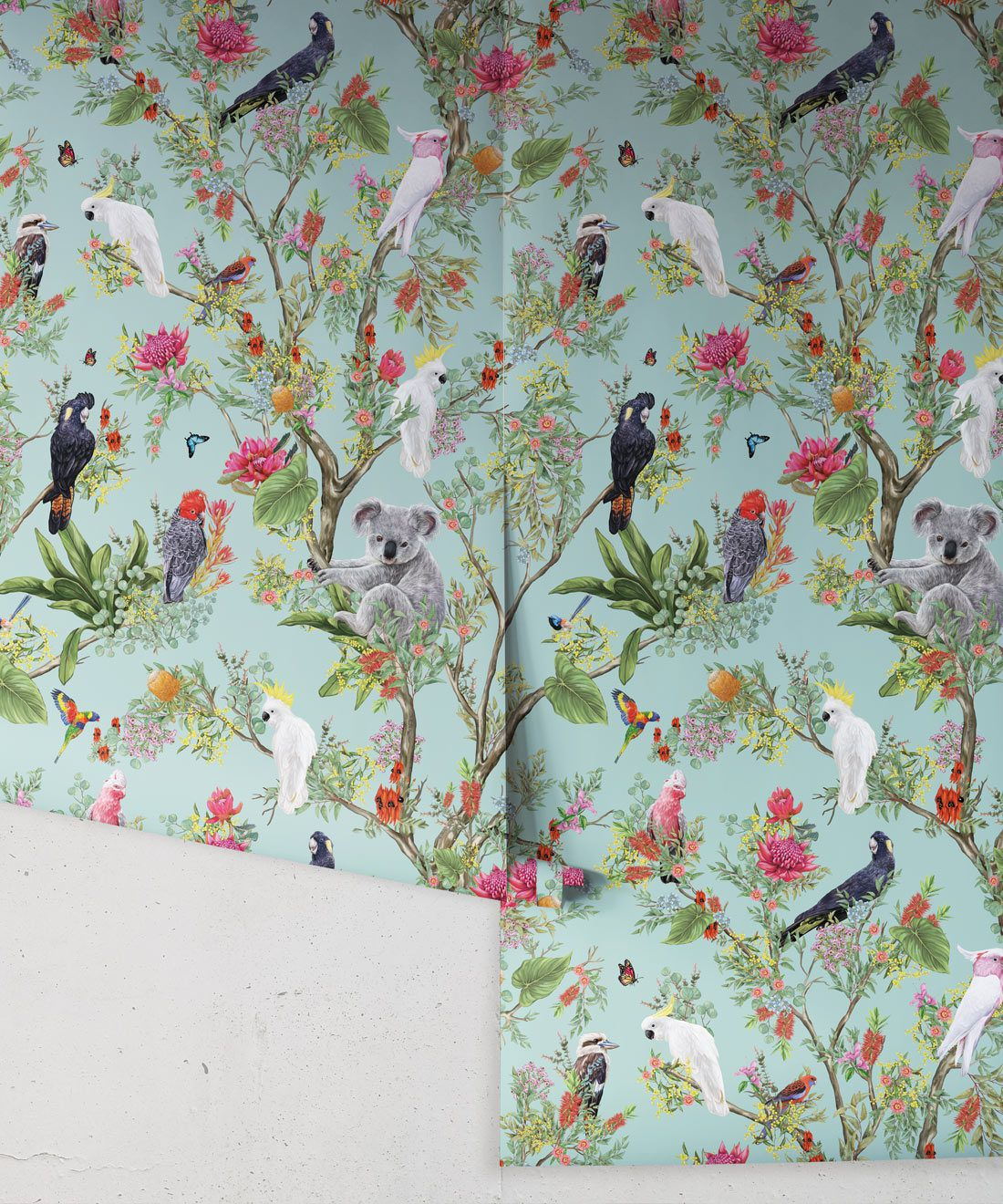 Australia Wallpaper • Cockatoos, Koalas, Parrots, Finches • Milton & King USA • Mint Green Wallpaper Roll