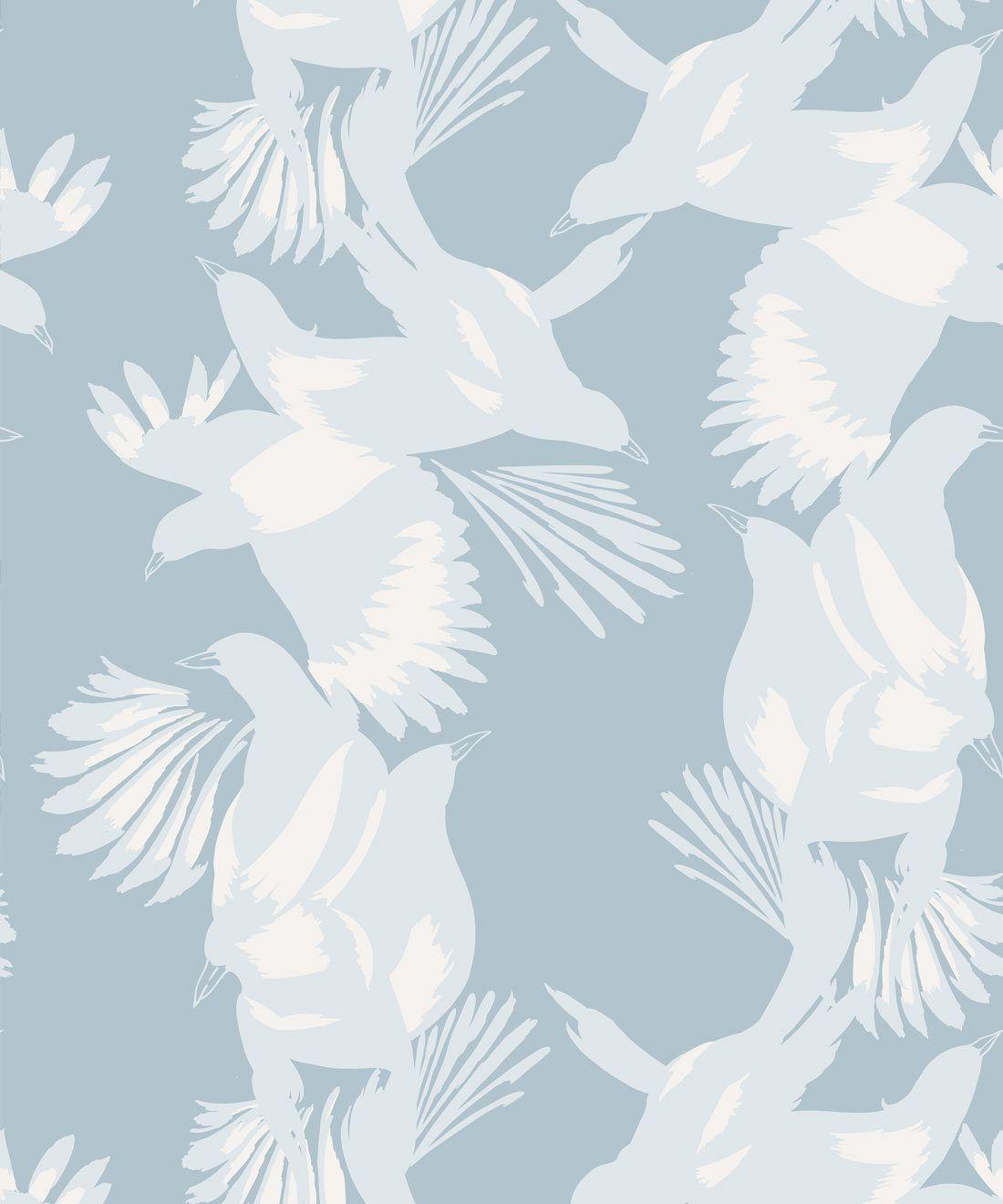 Magpie Wallpaper • Milton & King USA • Blue Bell Wallpaper Swatch