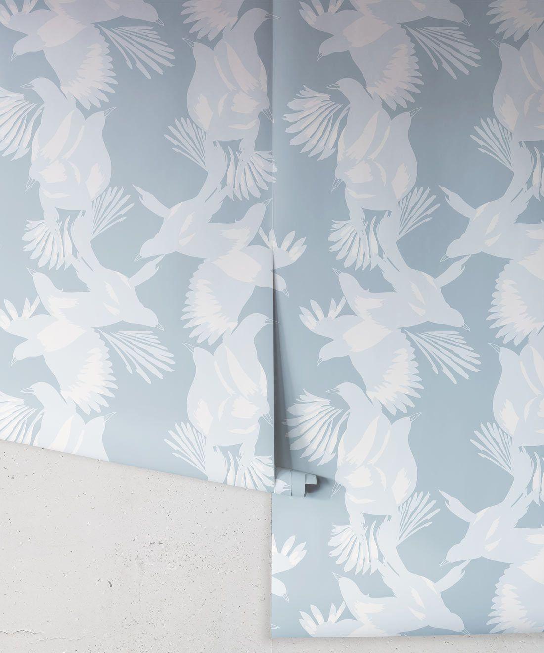 Magpie Wallpaper • Milton & King USA • Blue Bell Wallpaper Roll