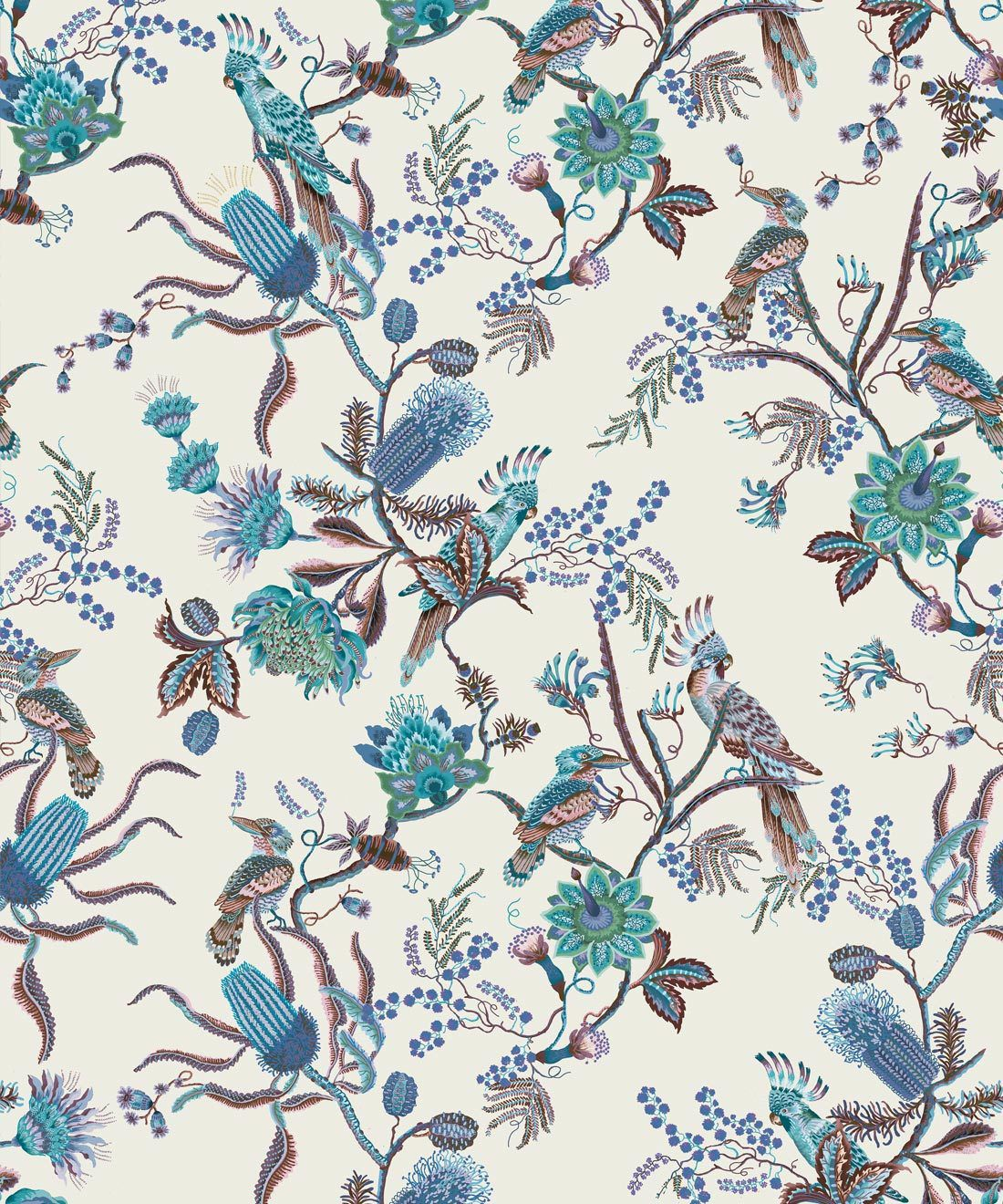 Matilda Wallpaper • Cockatoo, kookaburra • Australian Wallpaper • Milton & King USA • Blue Bell Swatch