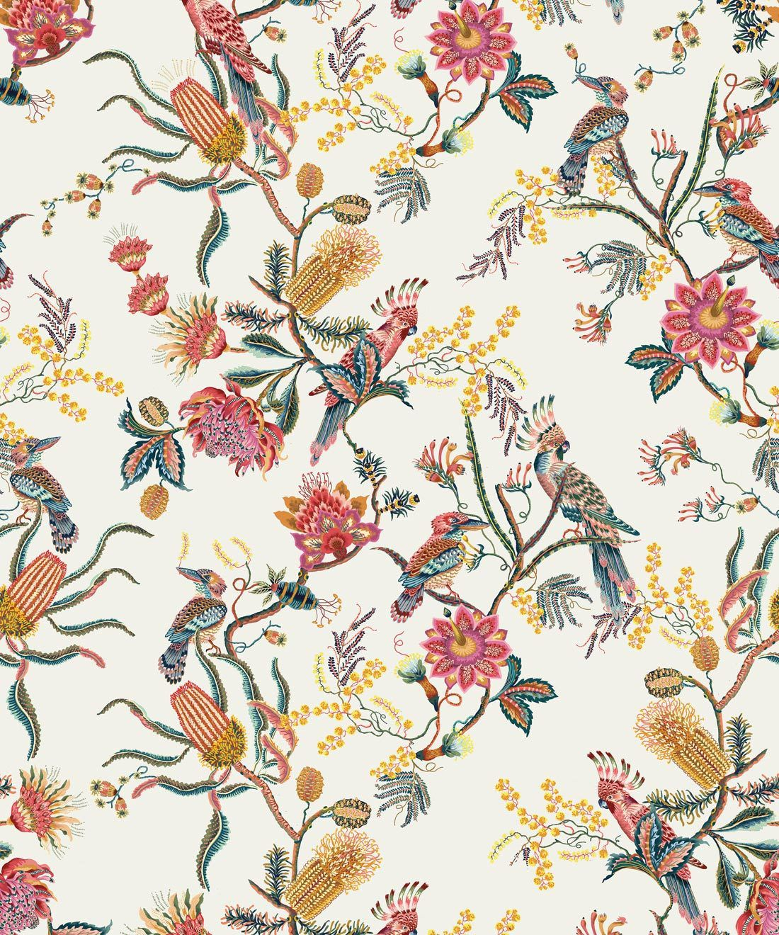Matilda Wallpaper • Cockatoo, kookaburra • Australian Wallpaper • Milton & King USA • Oceania Swatch