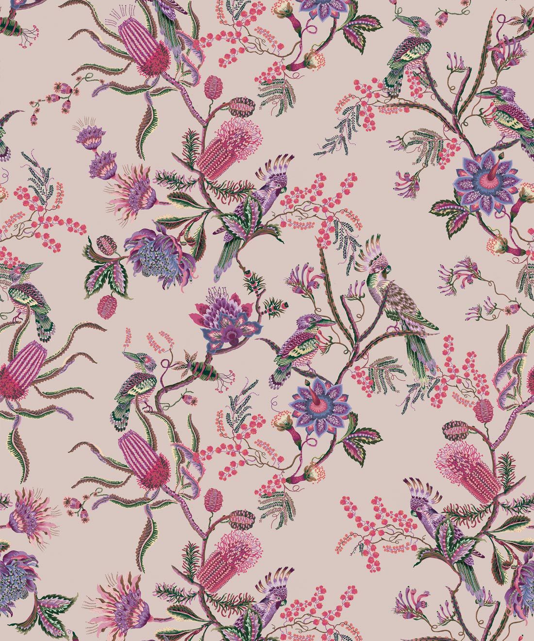 Matilda Wallpaper • Cockatoo, kookaburra • Australian Wallpaper • Milton & King USA • Pinky Swatch